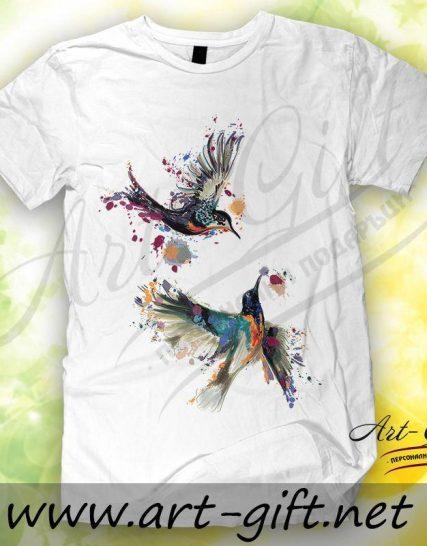 Тениска с щампа - Птици