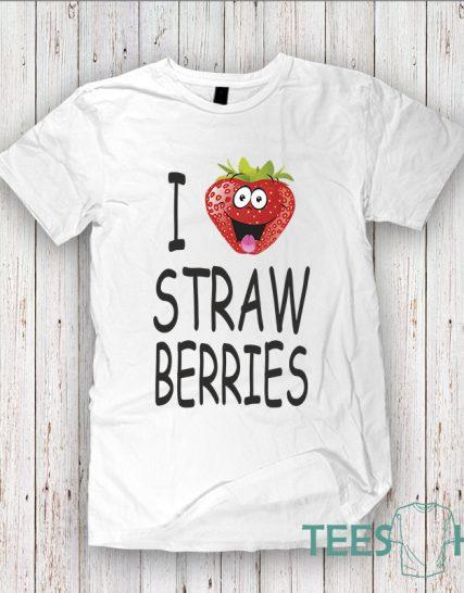 Тениска с щампа - I love strawberries