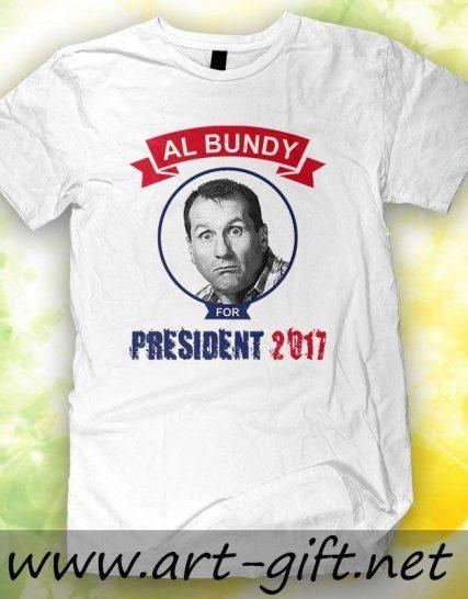 Тениска с щампа - Ал Бънди Президент
