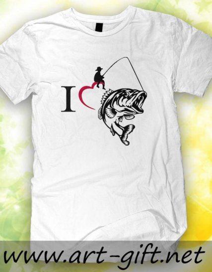 Тениска с щампа - I Love fishing