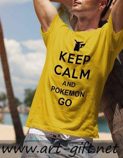 Тениска с щампа - Keep Calm and Pokemon Go