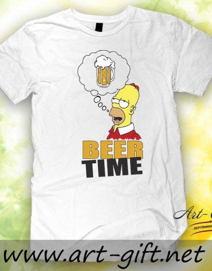 Тениска с щампа - Homer Beer time