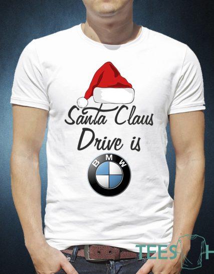 Тениска с щампа - Santa Claus drive is BMW